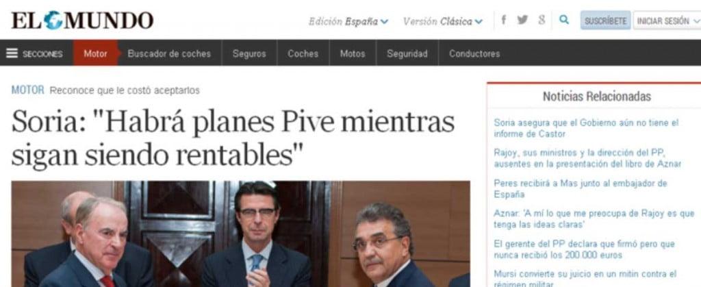 """""""El Mundo"""" refleja la visita del Ministro Soria al Fórum de ASEPA en Industriales UPM"""