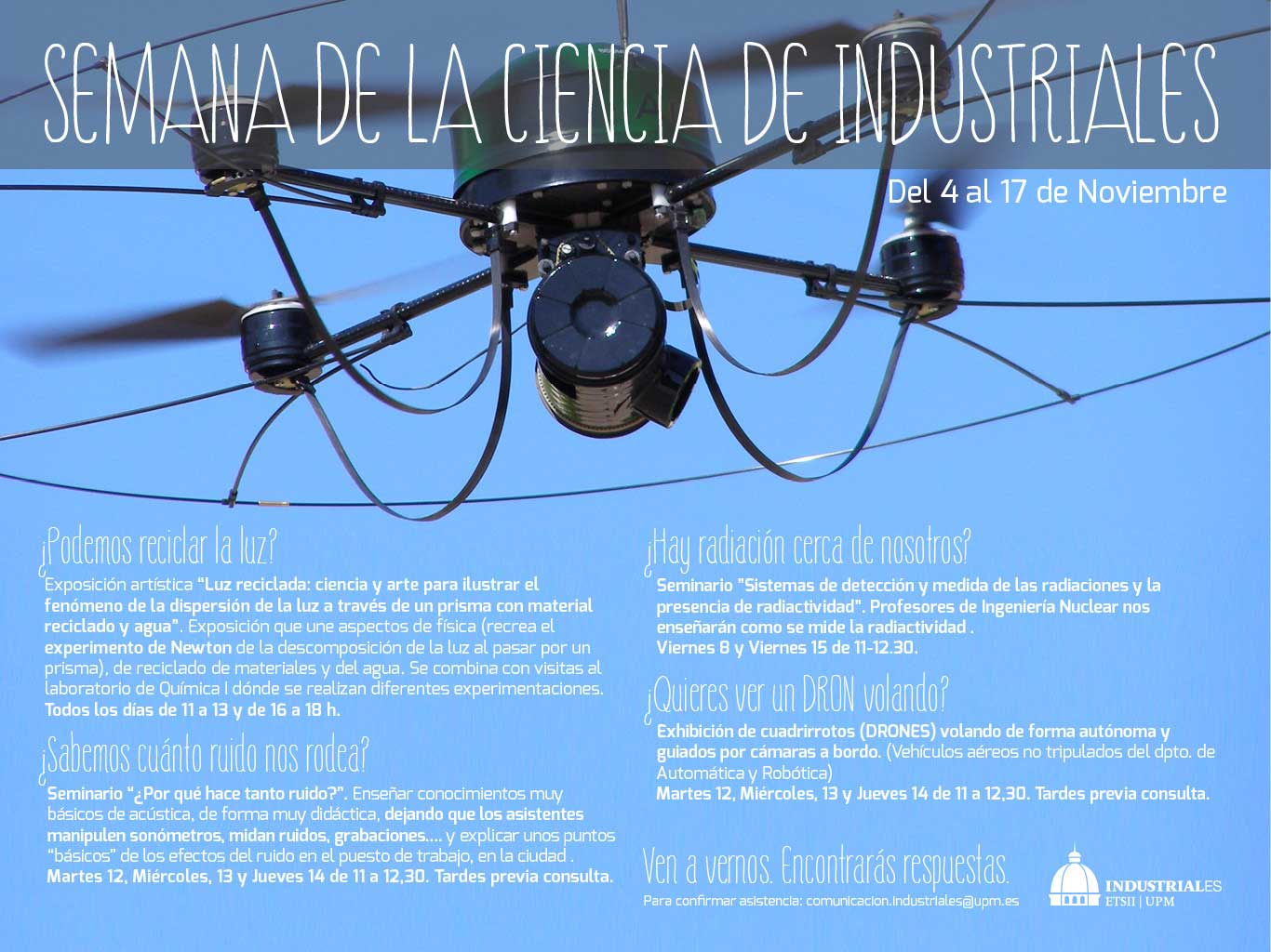 Cartel Semana de la Ciencia en escuela Industriales