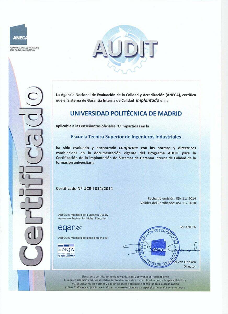 Certificación Audit de ANECA a Escuela Industriales