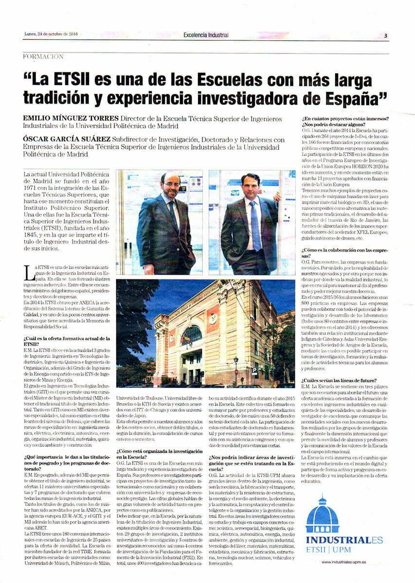 El País Excelencia Industrial Escuela Industriales